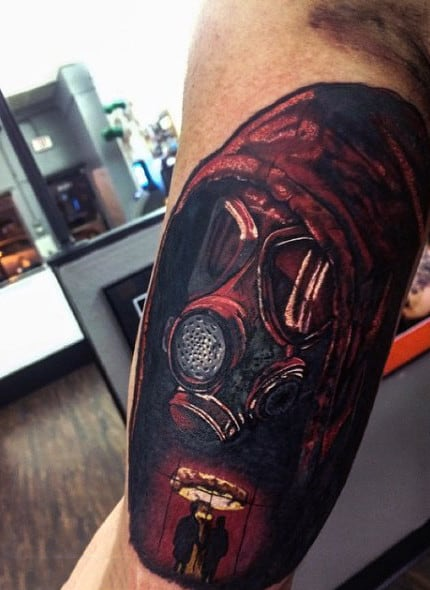 Red Explosion Glow Gas Mask Tattoo On Guys