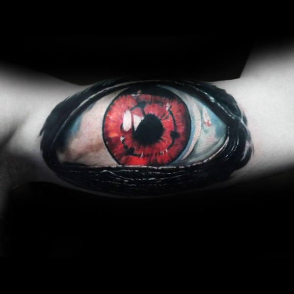 Red Eye Male Realistic Arm Tattoo Inspiration