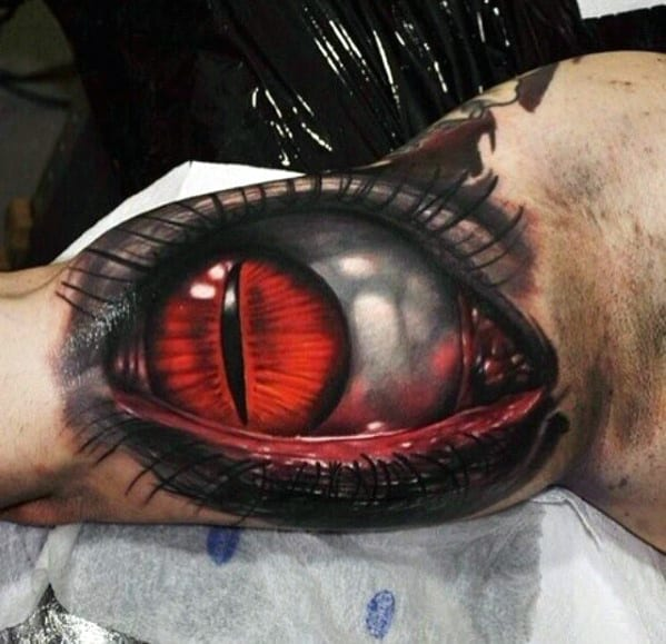 Red Eye Mens 3d Realistic Inner Arm Bicep Tattoo
