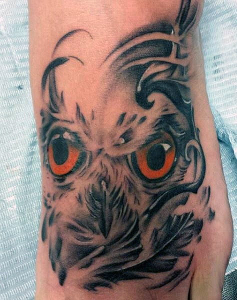 Red Eyed Owl Tattoo On Foot For Guys