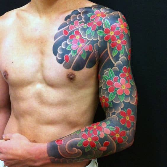 Red Flower Guys Japanese Half Sleeve And Chest Tattoos