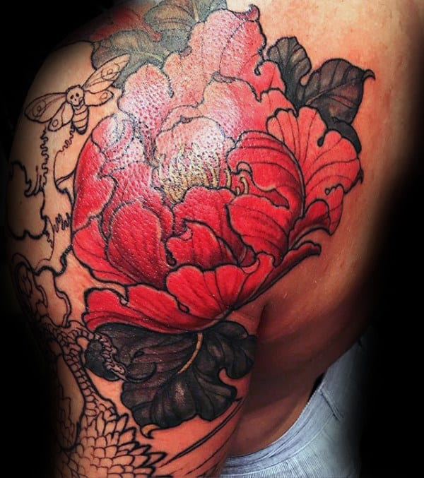 Red Flower Peony Mens Shoulder Tattoos
