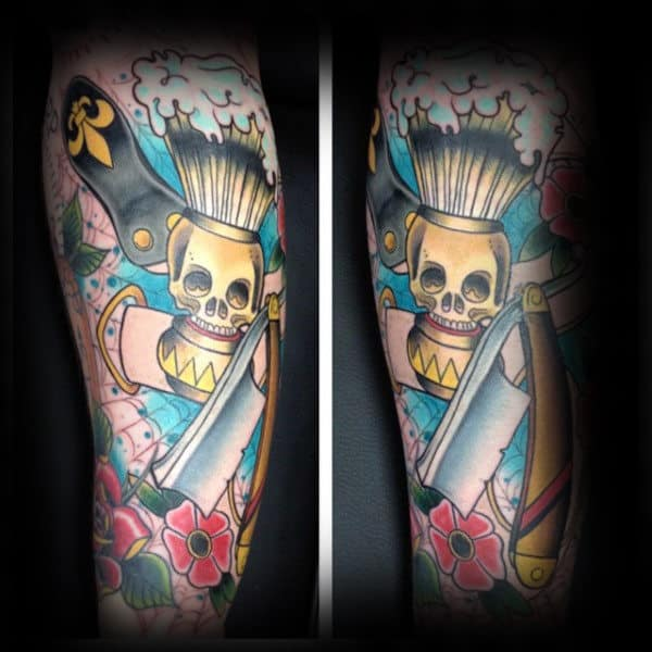 Red Flowers Pale Skull Straight Razor Tattoo Male Forearm