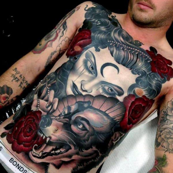 Red Flowers With Female Portrait Male Wolf Full Chest Tattoo