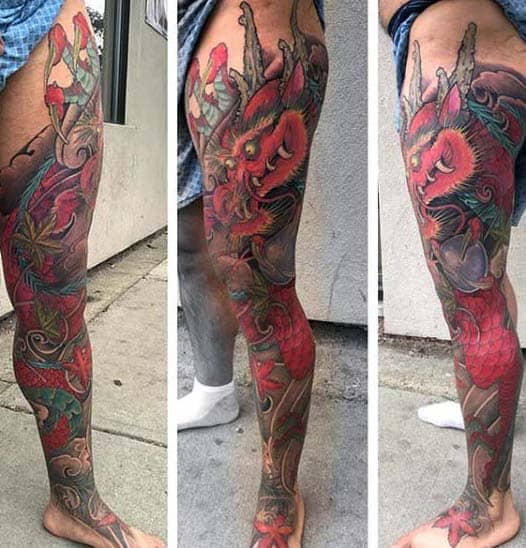 Red Full Leg Sleeve Japanese Mens Dragon Tattoos
