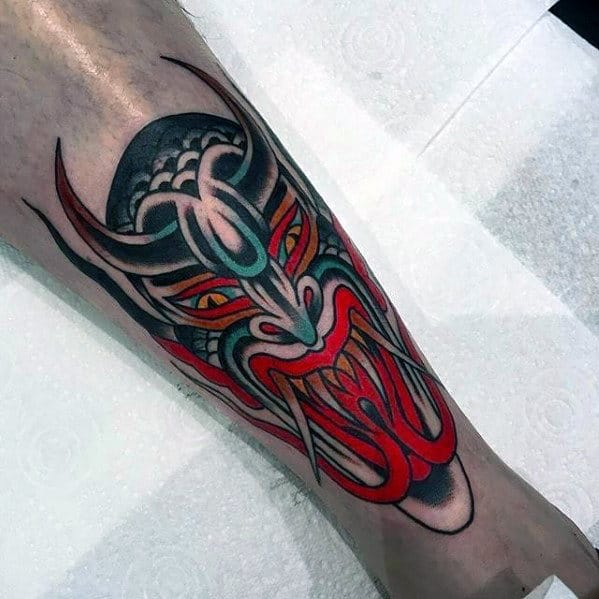 Red Green And Black Ink Mens Traditional Devil Shin Tattoo