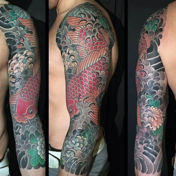 Red Green Dragon Japanese Tattoo On Males Sleeves