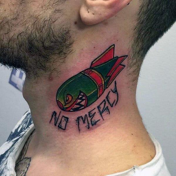 Red Green No Mercy Bomb Mens Neck