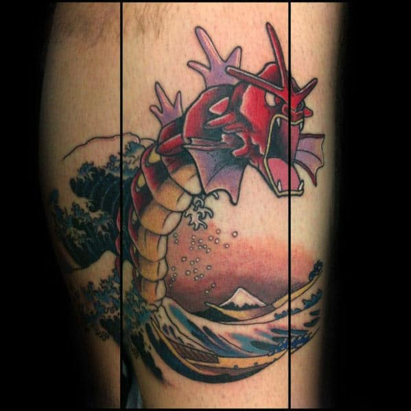 Red Gyarados Great Wave Mens Leg Tattoo Ideas
