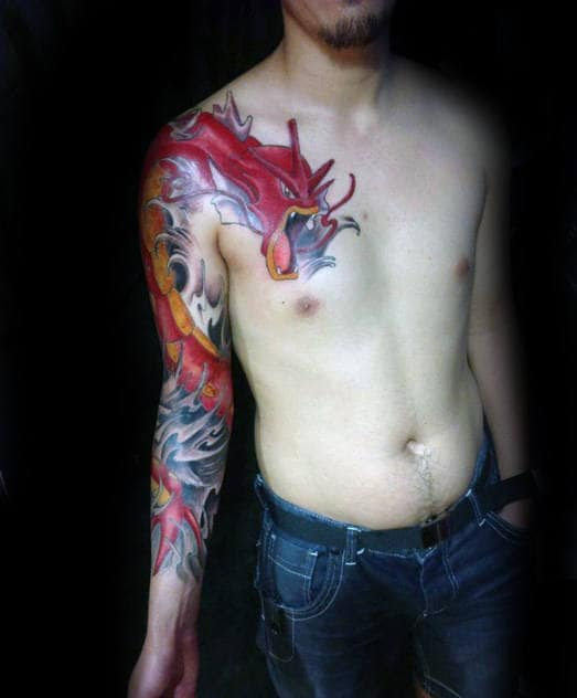 Red Gyarados Mens Full Arm And Upper Chest Tattoo Designs