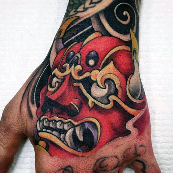 Red Hannya Mask Mens Hand Tattoos