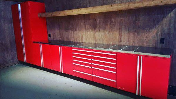 Red Home Interior Garage Cabinet