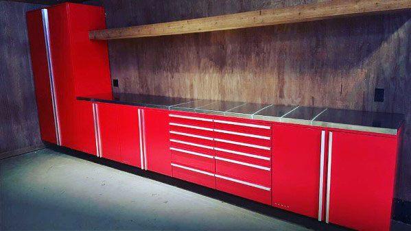 Red Home Interior Garage Cabinet