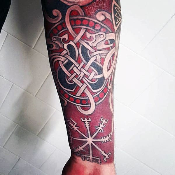 Red Ink Celtic Knot Rune Mens Forearm Sleeve Tattoo