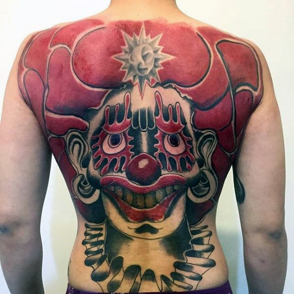 Red Ink Clown Mens Full Back Tattoos