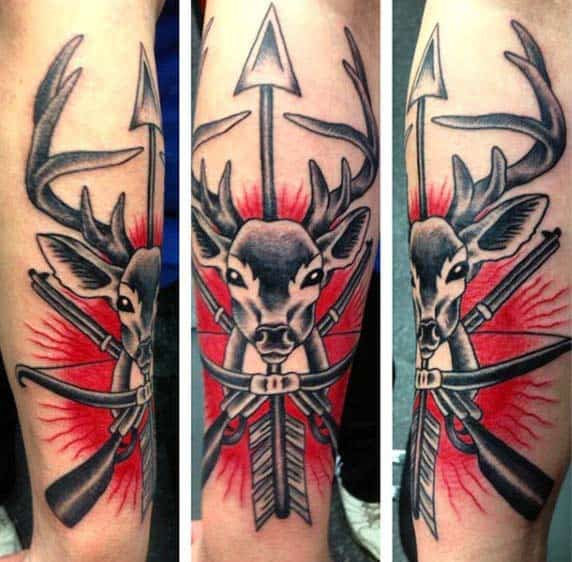 Red Ink Deer Skull Arrow Archery Tattoos For Males On Forearm