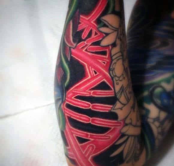Red Ink Dna Helix Strand Male Forearm Tattoos