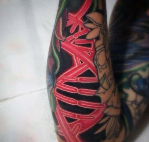 Red Ink Dna Sleeve Tattoos Men