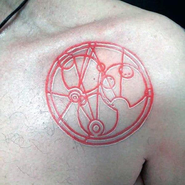 Red Ink Gallifreyan Guys Chest Tattoo