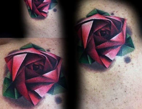 Red Ink Geometric Rose Mens 3d Tattoo On Arm