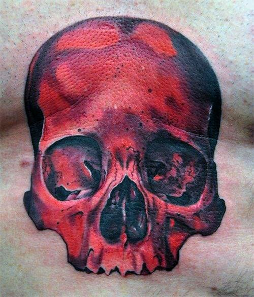 Red Ink Guys Skull Chest Tattoos