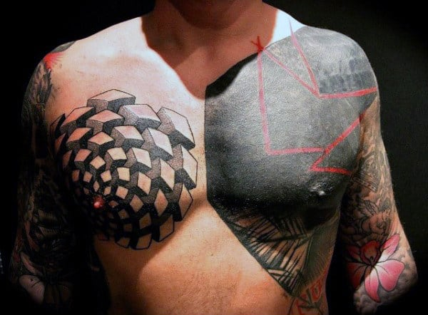 Red Ink Lines Mens Chest Tattoo Blackwork Design Ideas
