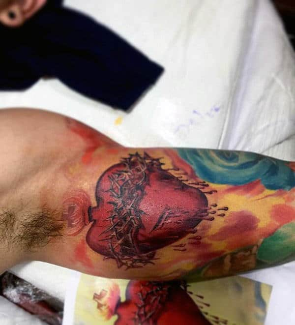 Red Ink Sacred Heart Mens Colorful Half Sleeve Tattoos