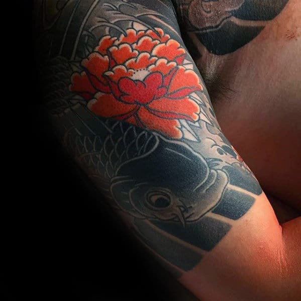 Red Japanese Flower With Koi Fish Mens Quarter Sleeve Tattoo