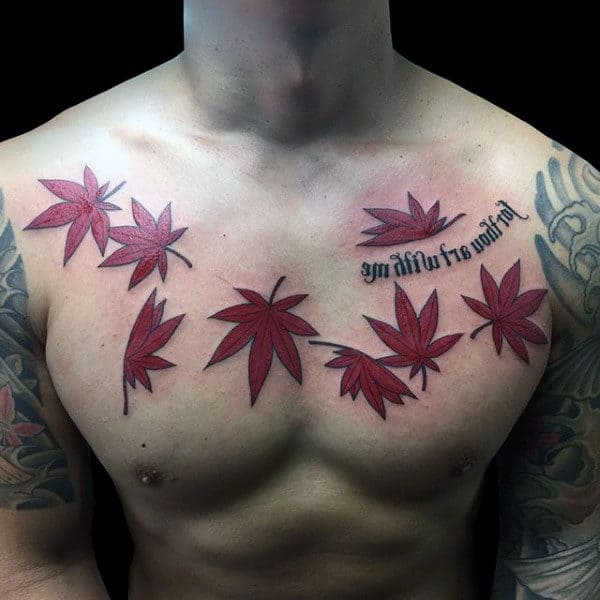 Red Japanese Maple Leaf Mens Chest Tattoos