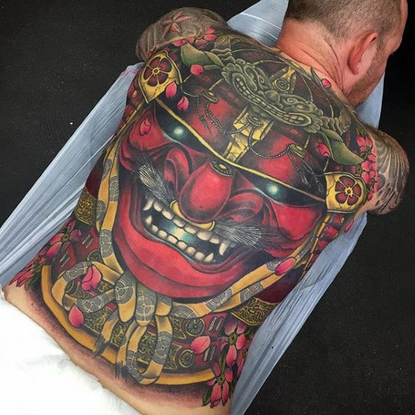 Red Japanese Mask Mens Creative Full Back Tattoo Designs