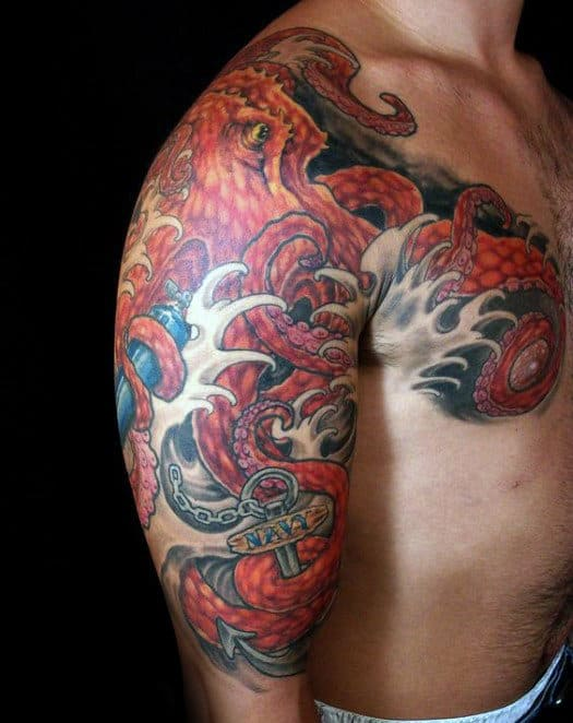 Red Japanese Octopus With Anchor Guys Half Sleeve And Chest Tattoos
