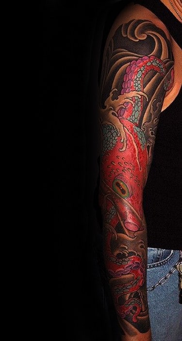 Red Japanese Octopus With Black Ink Waves Mens Full Sleeve Tattoo