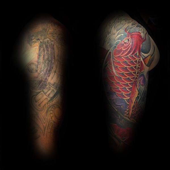 Red Koi Fish Japanese Tattoo Cover Up Sleeve Before And After