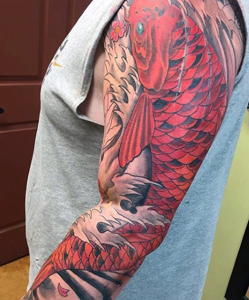 Red Koi Fish Sleeve Tattoo For Men