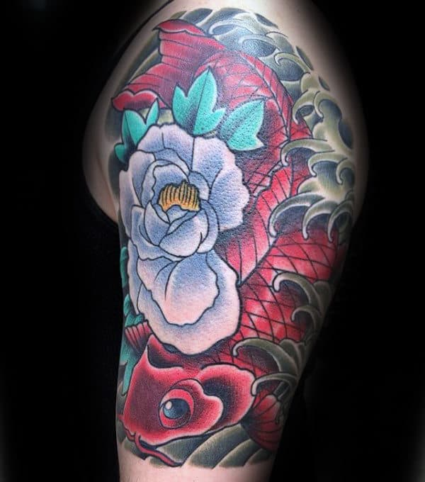 Red Koi Fish With Peony Flower Mens Half Sleeve Tattoo Designs