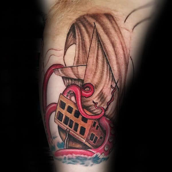 5b551aada12db ... Watercolor Blue Ink Background Chest Tattoos. Red Kraken Sea Monster  With Shaded Sailing Ship Mens Inner Arm Tattoos