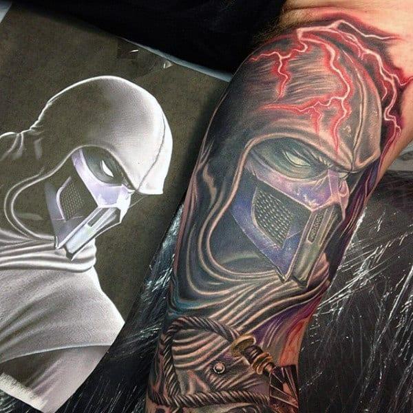Red Lightning Mens Mortal Kombat Tattoo On Arm