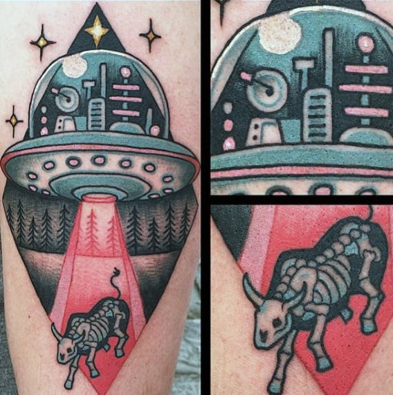 Red Lights Of Ufo On Bony Cow Tattoo Mens Calves