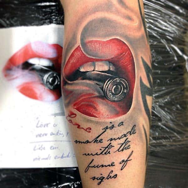 Red Lips Silver Bullet Tattoos For Guys