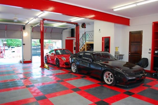 red locking garage floor tiles with unique pattern