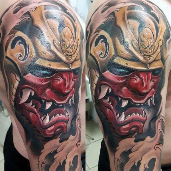 Red Mask With Gold Samurai Helmet Mens Half Sleeve Tattoos