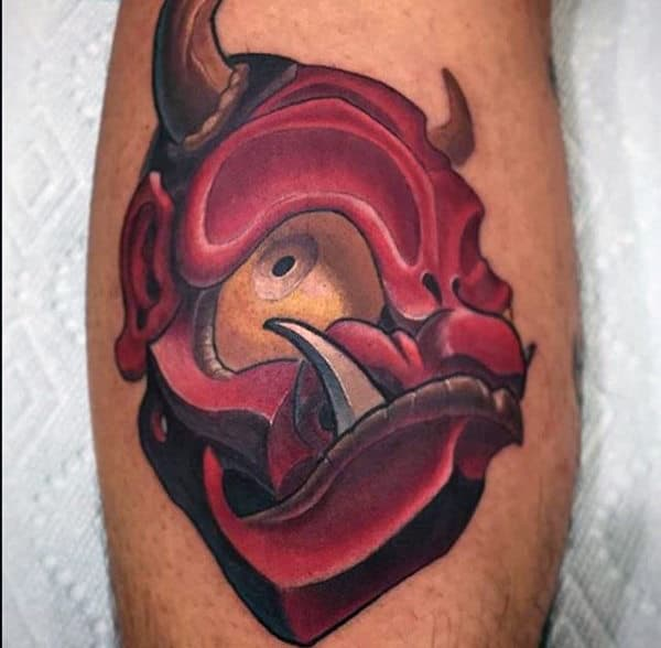 Red Monster New School Tattoo Male Forearms