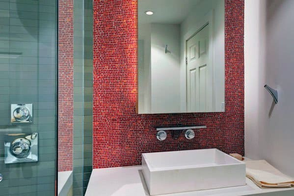 Red Mosaic Modern Tile Bathroom Backsplash Ideas