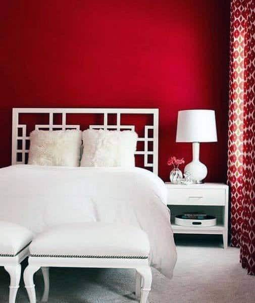 Red Paint Bedroom Ideas With White Bed Furniture And Decor