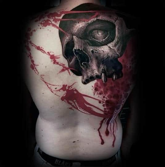 Red Paint Splatter Skull Guys 3d Back Tattoo
