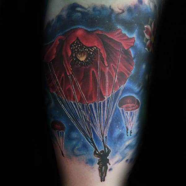 Red Poppy Flower Airborne Watercolor Mens Bicep Tattoos