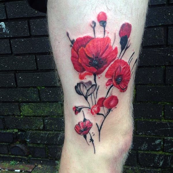 Red Poppy Flower Memorial Ww2 Guys Thigh Tattoos