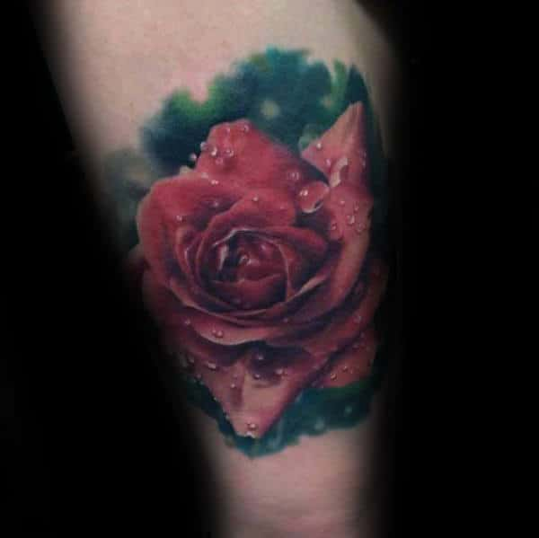 Red Realistic Rose Covered In Water Droplets Mens Thigh Tattoos