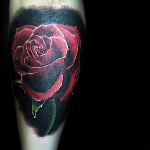 Red Realistic Rose Flower With Water Droplets Mens Leg Calf Tattoo With Black Ink Background