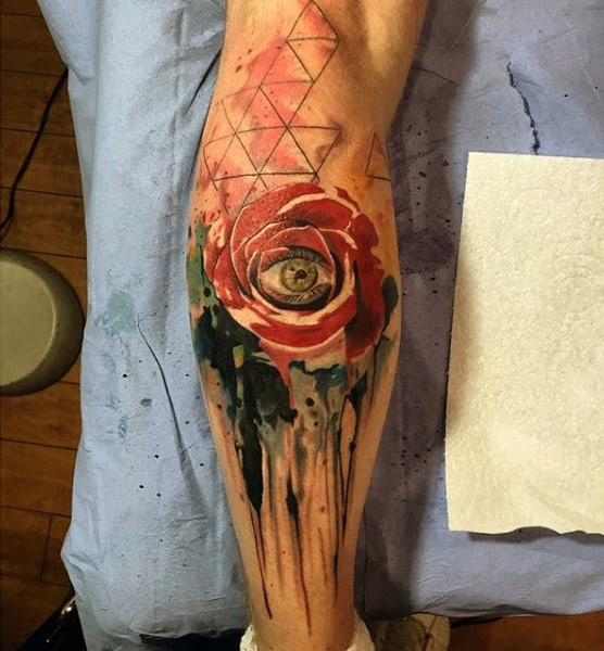 Red Rose And Eye Watercolor Painting Tattoo